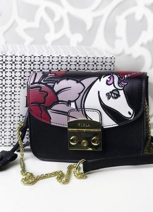 Сумка кожаная клатч кожаный сумочка женская черная единорог