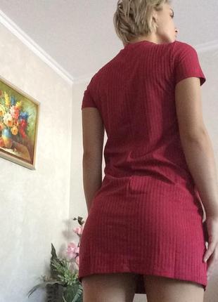 Платье красное короткое zara