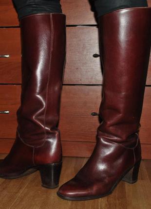 Кожаные сапоги деми итальянские бордо италия осень ботинки ботфорты кожа