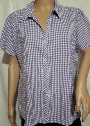 Женская рубашка большого размера в мелкую клетку