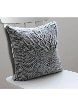 Вязаная подушка дерево жизни