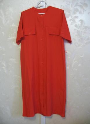 Красное платье-рубашка с коротким рукавом motives