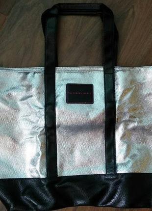 Сумка victoria's secret,пляжная,оригинал weekender tote,серебро шоппер