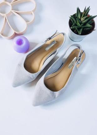 Стильные туфли лодочки мюли под замшу с ремешком на щиколотке от atm