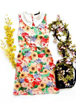 Платье трапеция в цветочек