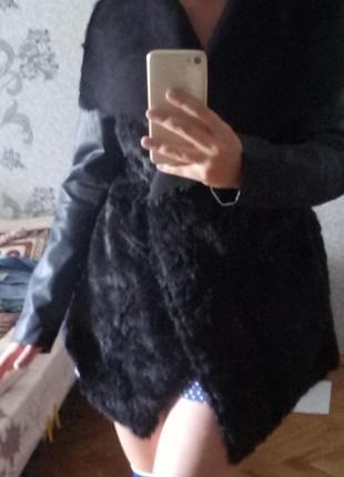 Куртка пиджак пальто искусственная мех и кожа colins  колинс осень зима
