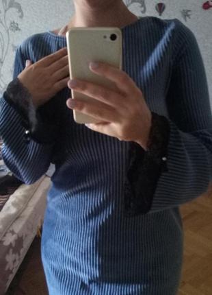 Модный велюр! велюровое платье с кружевом