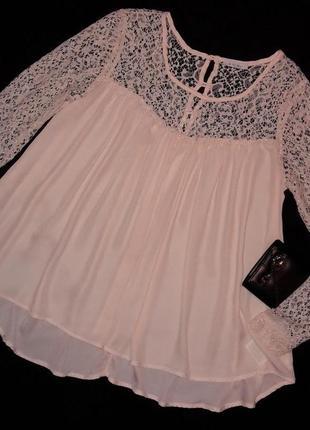Роскошная кремовая блуза свободного кроя с кружевом
