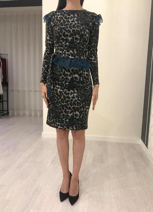 Стильное леопардовое платье, размер 34