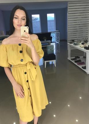 Zara желтое платье миди с пуговицами