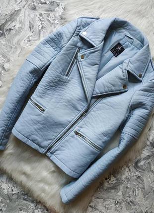 Куртка косуха бейби блу из плотного кожзама /кожанка