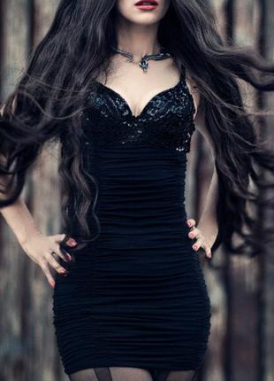 Платье плаття паэтки черное чорне коротке готика