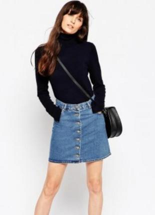Джинсовая юбка з пуговицями/юбка на пуговицах спереди