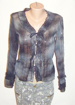Серая вечерняя блузка на завязках в пайетки (xanaka, марокко)