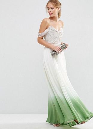 Роскошное платье макси с драпировками и эффектом деграде asos salon ms988