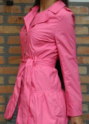 Легкий плащ из коттона, ярко-розовый тренч в стиле беби долл, с-м