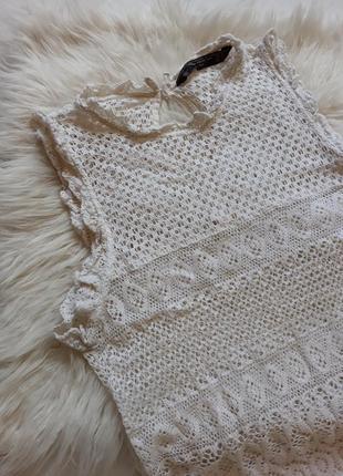 Майка блуза вязанная плетенная ажурная