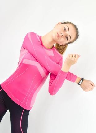 Розовый спортивный лонгслив для занятия спортом с футболка с длинным рукавом