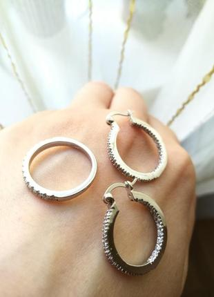 Комплект кольцо и серьги серебро + цирконии