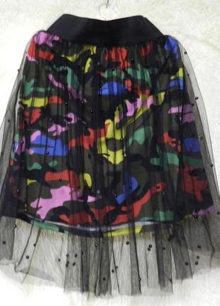 💣крутая юбка милитари с фатином сеткой и жемчугом