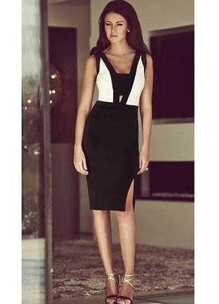 Шикарное сексуальное облегающее бандажное платье футляр herve leger черное белое