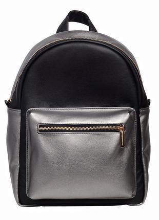 Красивый модный женский рюкзак черный с серебром