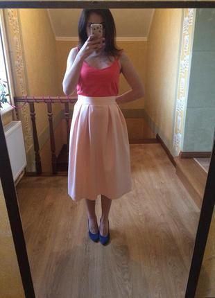 Персиковая юбка миди от asos