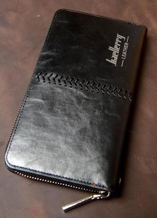 Мужское портмоне, клатч baellerry leather ( черный )