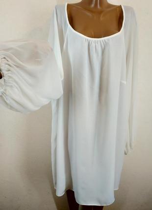 Белоснежное платье-туника из натуральной ткани для оочень больших девочек