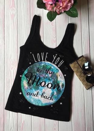 Коттоновая хлопковая майка футболка топ для сна отдыха дома м надписью и блеском