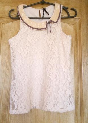 Красивая нарядная кружевная блуза (паетки и бисер на воротнике)