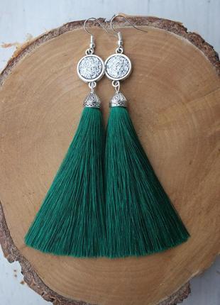 Серьги серёжки кисти кисточки пышные зелёные со сверкающим камнем большой выбор!