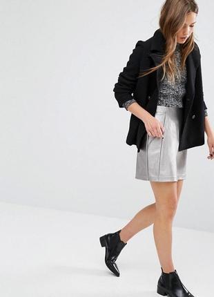🌿 кожаная, металлизированная мини юбка от new look