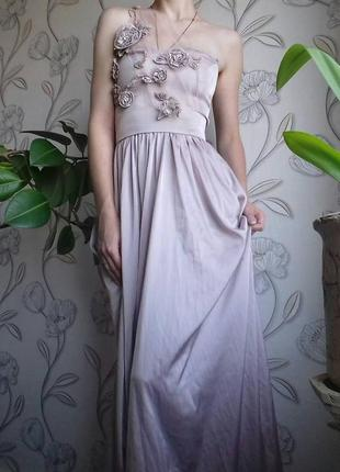 Шелковое  бальное, выпускное, вечернее платье макси 34-38р одето на  38р