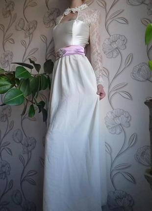 Атласно-шифоновое, бальное, свадебное, выпускное, вечернее платье макси 36-38р