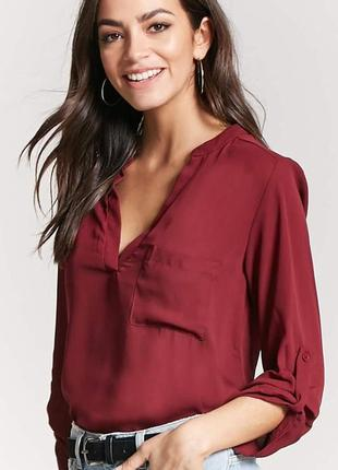 Шифоновая блуза рубашка forever 21 (бордо, хаки)