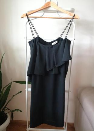 + подарок! платье черное вечернее с воланами от acne 38 размера