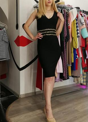 Шикарное сексуальное облегающее бандажное платье по фигуре herve leger черное с цепями