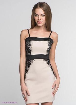 Inkity платье кружево черно-бежевое поаття коротке