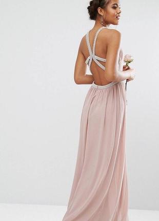 Нарядное нюдовое платье, вечернее нарядное
