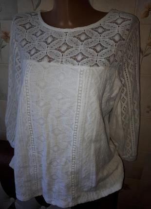 Шикарная кружевная хлопковая блуза кофта размер 12