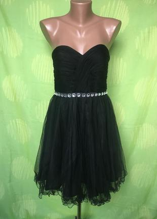 Коктейльное черное короткое платье с двойным фатином от nelly eve 10/38 m