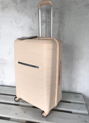 💎new💎 большой чемодан из полипропилена кремовый + тса валіза велика