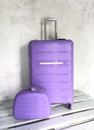 💎new💎 большой чемодан из полипропилена сиреневый + тса валіза велика
