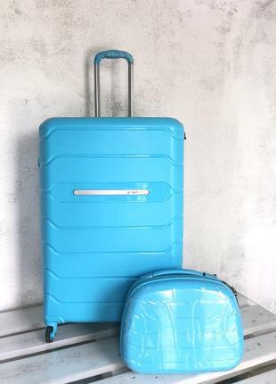 💎new💎 большой чемодан из полипропилена голубой + тса валіза велика