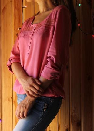 Нежная хлопковая блуза с длинным рукавом