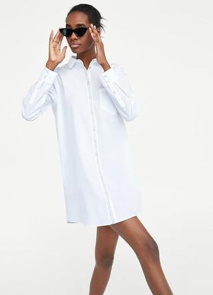Белое платье туника рубашка от zara! в наличии размер xl