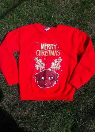 Яркий зимний  новогодний реглан свитер кофта худи  принт