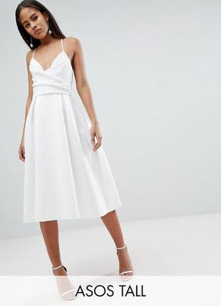 Платье миди айворі на бретельках asos design tall