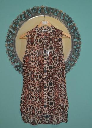 Рубашка-туника без рукава new look c леопардовым принтом